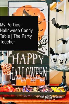 Halloween Candy Table Tutorial Halloween Bunting, Halloween Candy, Halloween Kids, I Party, Party Ideas, Teacher Party, Candy Table, Colorful Party, Halloween Coloring