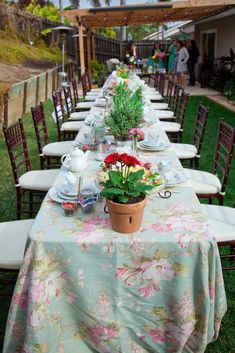Does this look too simple? I like the outdoor look and patterned tablecloth. Or we can do white tablecloth with a patterned runner.  Multiple flowers in mason jars or small glass vases too with several on each table. Colors can be  green with dashes of yellow and pink maybe.