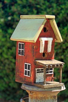 Vintage Bird House, Large Bird House, Barn Bird House, Functional Bird House…