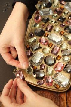 DIY Prada Inspired Jeweled Clutch by refinery29 #DIY #Prada #Clutch #refinery29