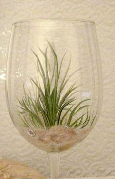 Beach grass hand painted set of two wine glasses by DeannaBakale, $36.00 by addie