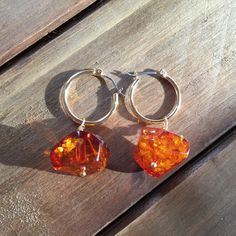Large Baltic Amber Sparkling Cognac Earrings