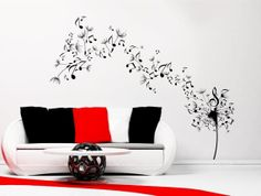Dandelion Clock Seeds Music Note Wall Decal Sticker Transfer Stencil Mural Art