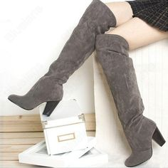 Fashion Sexy suede Over Knee High medium Heel Boots US Size 5 9 3 Colors High Ankle Boots, Over The Knee Boots, Heeled Boots, Shoe Boots, Women's Shoes, High Heel Pumps, Pumps Heels, Wholesale Shoes, Womens High Heels
