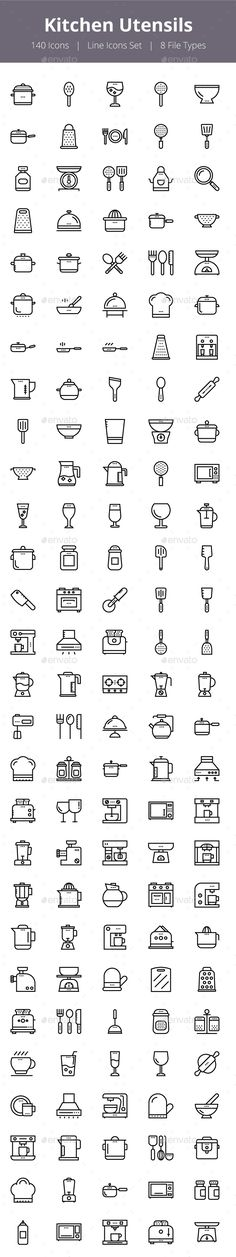 125+ Kitchen Utensils Line Icons - Icons