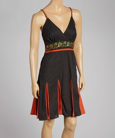 Another great find on #zulily! Red & Black Floral Surplice Dress by Anuna #zulilyfinds