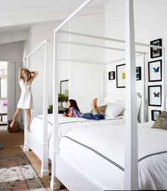 Tommy room inspiration - The homeowner of this California ranch house mounted butterfly specimens on the walls of this bedroom, furnished with four-poster beds, duvets, and pillows from Restoration Hardware. Guest Bedrooms, Rooms Country, Room, Beautiful Bedrooms, Home, Home Bedroom, Bedroom Design, Bedroom Inspirations, Kid Room Decor