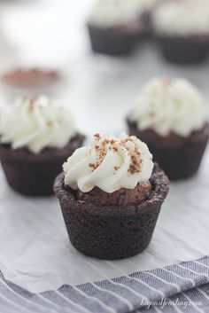 Chocolate Cream Pie Cookie Cups. A dark chocolate pudding cookie filled with a airy chocolate mousse and  whipped cream.
