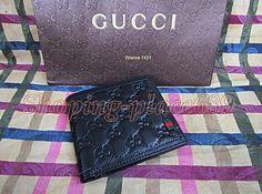 New Gucci Men's Black Color GG Guccissima Bifold Leather Wallet.(PVC000554) #Bifold