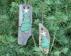 Driftwood Ornaments, Shell & Starfish Christmas Ornaments -set of Handmade Ornaments, Beach Decor, Coastal Christmas, Rustic ornaments Christmas Tree Tops, Coastal Christmas, Glass Christmas Ornaments, Handmade Christmas, Beach Ornaments, Ornament Tree, Shell Ornaments, Snowman Ornaments, Christmas Christmas