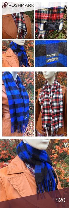 """Vintage Christian Dior Plaid Nova Fringed Scar Listing for a pair of Christian Dior 100% Acrylic Scarves #hipster #preppy #cashmaire One Plaid Tartanprint w some of the fringe missing on both ends 59"""" x 11"""" with fringes And a cobalt blue and black flannel print 55"""" x 12"""" These are estate sale purchases and have not been washed but all notible flaws have been listed. Thanks so much! Christian Dior Accessories Scarves"""