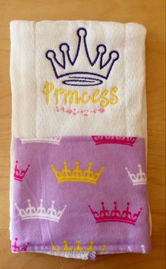 Princess burp cloth Princess crown burp by BrinleysBowtique32