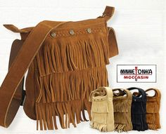 Minnetonka Fringed Hand Bag - four colors of rich suede! Review the collection off of: http://www.indianvillagemall.com/smlpurses.html