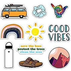 Cute Nature VSCO Girl Stickers for Water Bottles and Laptops Made in US Good Vibes Supplies Stickers-Confetti Supplies Accessories-Storage Products Supplies Organisers-Dispensers Cases Dress-Accessories Cute Laptop Stickers, Cool Stickers, Printable Stickers, Planner Stickers, Vsco, Collage Mural, Beach Toys, Tumblr Stickers, Save The Bees