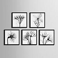 Floral/Botanical Framed Canvas Framed Set Wall Art,PVC Material Black No Mat With Frame For Home Decoration Frame Art – USD $ 114.27