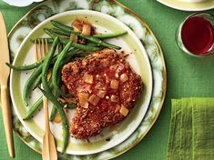 Pecans and pork, two iconic ingredients in Southern cooking, come together in this ingenious main dish. What makes this recipe feel both classic and Pork Chop Recipes, Sauce Recipes, Ham Recipes, Supper Recipes, Family Recipes, Paleo Recipes, Yummy Recipes, Breaded Pork Chops, Cooking With Beer
