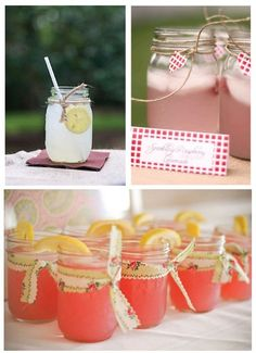 great idea: pink lemonade in mason jars for girlie baby shower or bridal shower! #shower, #decoration celebration-decoration