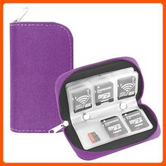 Memory Card Case, WOVTE Portable 8 Pages and 22 Slots SD SDHC MMC CF Micro SD Memory Camera Card Case Holder Pouch Zippered Storage Bag (Purple) - Photo stuff (*Amazon Partner-Link)