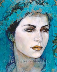 "Novia Azul ©2000, Acrylic on Canvas, Dimensions 24"" w x 35"" h, Private Collection 