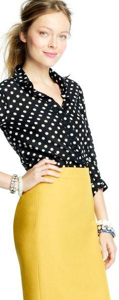 Latest fashion trends: Women's fashion | J Crew yellow skirt and polka dots black blouse