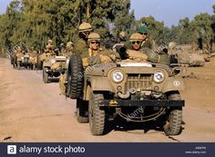 Israeli vehicles with a Forward Group Armed Seen on The Golan Heights, 1973. PHOTO TERRY FINCHER.