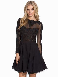 L/S Lace Skater Dress - Ax Paris - Black - Party Dresses - Clothing - Women - Nelly.com