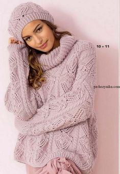Свободный пуловер спицами описание. Связать модный пуловер с воротником хомутом