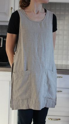 Original Linen Pinafore Apron Country style linen by OldWallLinen Sewing Aprons, Sewing Clothes, Japanese Apron, Japanese Sewing, Pinafore Apron, Cute Aprons, Linen Apron, Medieval Clothing, Apron Dress