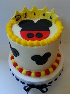 Fun Disney Mickey cake. Www.facebook.com/clairescutecakes