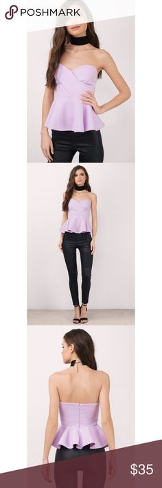 Lavender Strapless Peplum Top This is the perfect date night top 😍 Never worn! New with tags. Hanging straps still intact. Item is sold out on Tobi website! Stock photos show true coloring. See last two photos for item description/Tobi sizing info. Make an offer! Tobi Tops