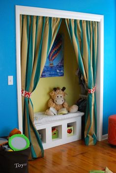 Cute closet alternative to include a reading nook and hanging space without ugly bifold doors!
