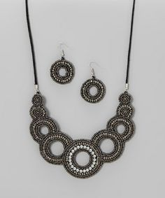 Another great find on #zulily! Grey & Silver Mandala Bib Necklace & Drop Earrings #zulilyfinds