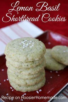 Lemon Basil Shortbread Cookies   Use up leftover basil