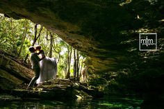 Cenote Trash the Dress - Fairytale romance captured in a local Cenote TTD - Magical!!!  MTM Photography in Mayan Riviera Wedding Photographer. Wedding Photographer photos in Cancun, Playa del Carmen, Puerto Morelos, Puerto Aventuras and Tulum. www.MomentsThatMatterPhotography.com