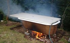Forget a fancy hot tub. You can just find a cast iron tub (didn't know they even made those), and with a few tools and some lovin', you can have your own fire tub!