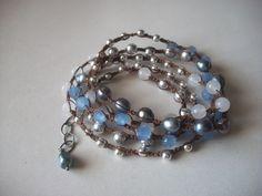 Multi Gemstone Wrap Bracelet or Necklace - Peacock Blue Freshwater Pearl, Crystal, Czech Glass, Snow Quartz, Sterling - Handmade. $68.00, via Etsy.