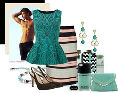 """""""teal/blk/pink"""" by kloeyblue on Polyvore"""
