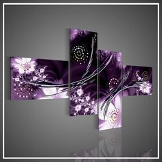 Online Shop 4 Piece Wall Art Modern Abstract Fantasia Purple Oil Painting On Canvas Paintings Contemporary For Home Modern Decoration Purple Rooms, Purple Art, Purple Walls, Purple Canvas, Oil Painting On Canvas, Canvas Wall Art, Canvas Paintings, China Painting, Purple Wall Decor