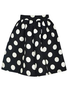 Black, Polka Dot, Skater Skirt