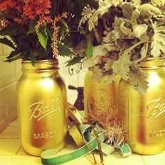 Gold Spray Painted Mason Jar Centerpieces