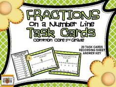 Common Core 3rd Grade Fractions on a Number Line Task Card Kit