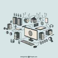 Internet isometric icons Free Vector