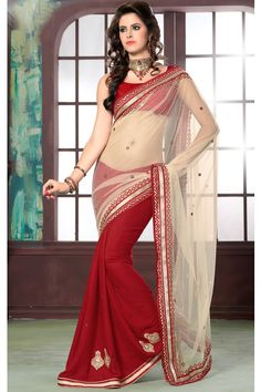 This white & red color designer party wear saree looks awesome and the main key feature of the saree is the lace on it and the blouse makes the saree more beautiful when you wear it.