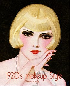 20's makeup: the new heavy make-up look was a reaction to the demure Edwardian era and women were increasingly driven by marketing through cinema and advertising. Now it was time for nice girls to be bad. The popular foundation look was still pale, with plenty of rouge, lip color and kohl eyeshadow.