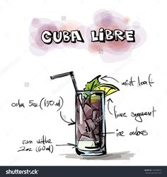 Hand Drawn Illustration Of Cocktail. Vector Collection. - 152958875 : Shutterstock