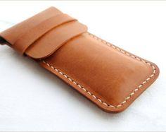 Handmade Handstitch Leather pen holder pen case pen sleeve pen cover pen purse pen pouch pencil