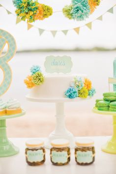 Very creative use of yarn. It's all in the details!! {Fresh Sea Breeze} Gender Neutral Baby Shower