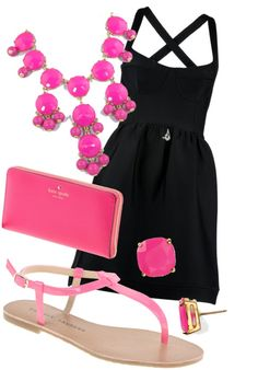 Love the lil black dress with the pink accessories #girly #accessories <3<3 For tips and advice on #trends and fashion, Visit http://www.makeupbymisscee.com/