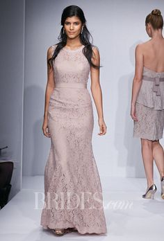"""Brides.com: Watters - Spring 2014. Style 5220, """"Andrea"""" slim A-line full length lace bridesmaid dress with crew neck in blush, Watters"""