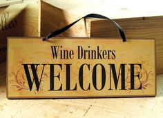Decorative Wall Sign with Wine Saying in Dark Red by AbeloClocks, $14.00
